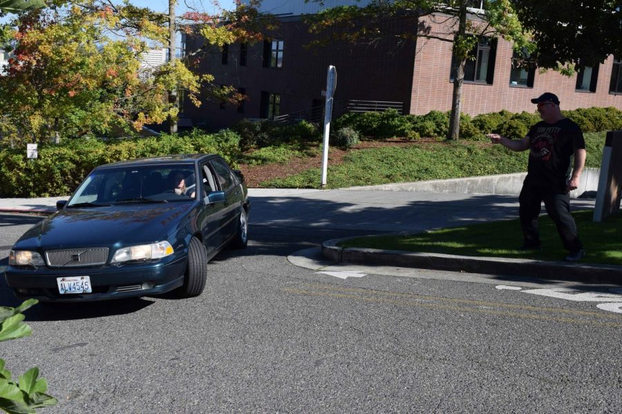 A student makes an illegal left turn while leaving the parking garage. Left turns from the garage are among the most common parking related errors that result in JUG.