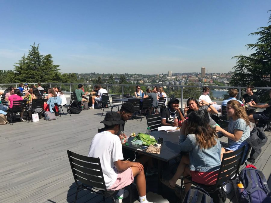 The+1891+Terrace+is+a+popular+place+for+students+to+eat+their+lunches.+The+highly+anticipated+patio+on+the+top+floor+of+Adelphia+Memorial+Hall+opened+in+May+for+upperclassmen+and+faculty.