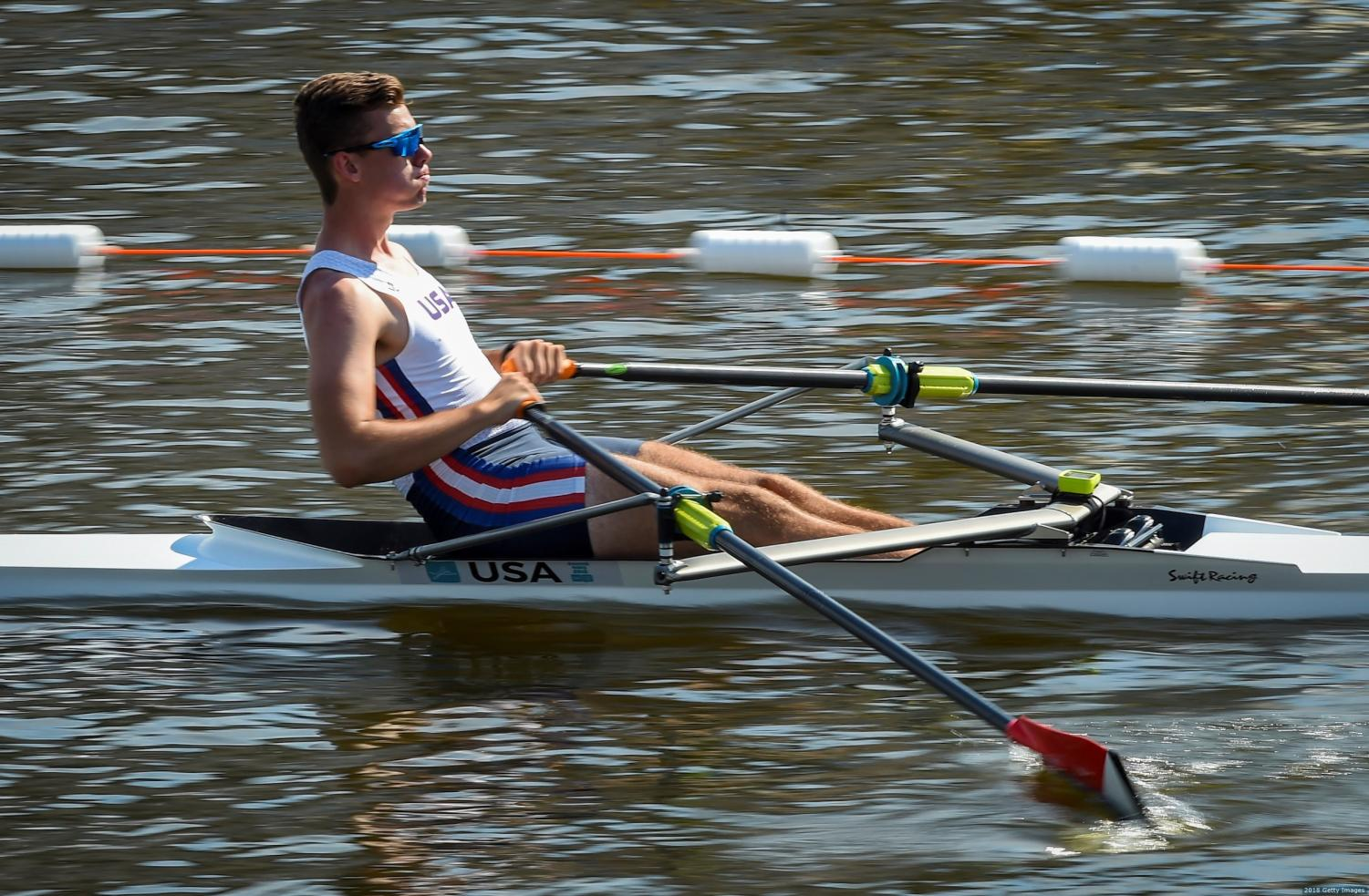 Rower Max Heid '19 practices on Lake Union. Heid will row at The University of Washington next year.