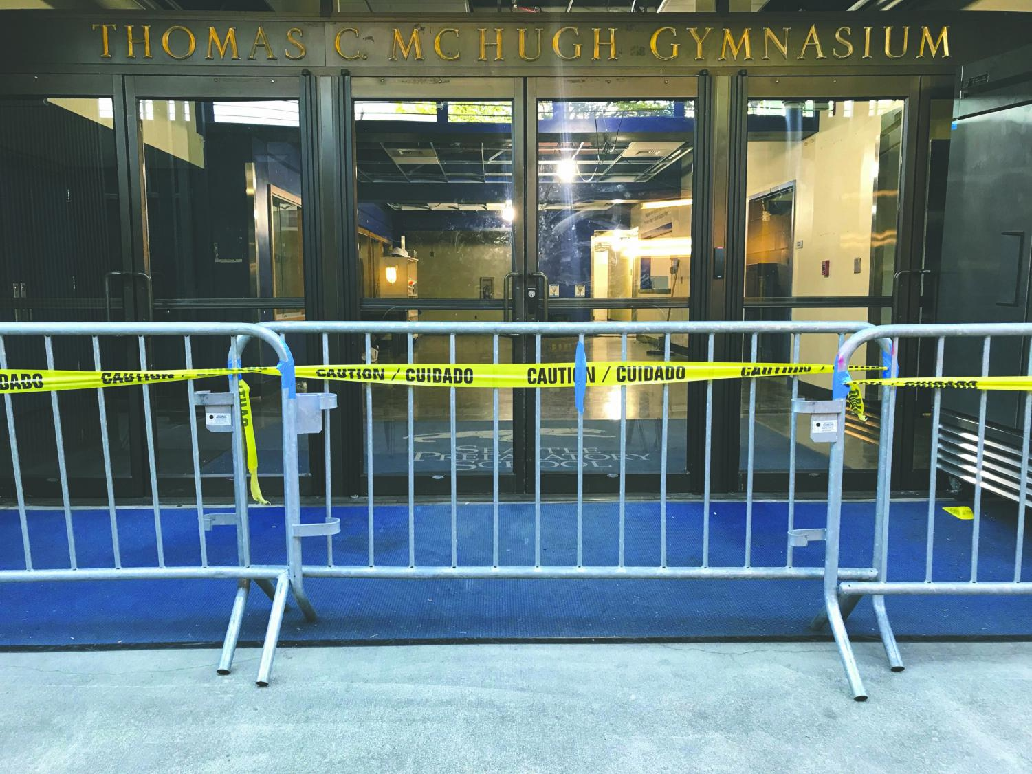 The entrance to T.C. McHugh Gymnasium is currently blocked due to construction. Construction started in May and will continue through August.