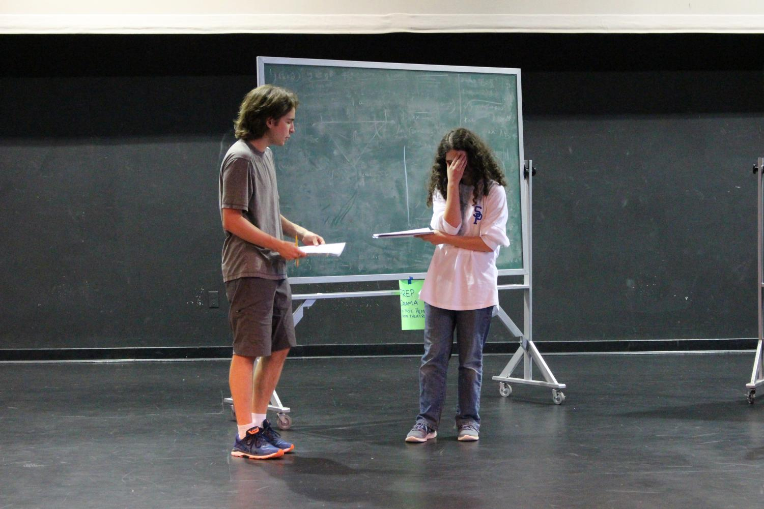 Cast members rehearse for The Curious Incident of the Dog in the Night. The show opens on October 25,