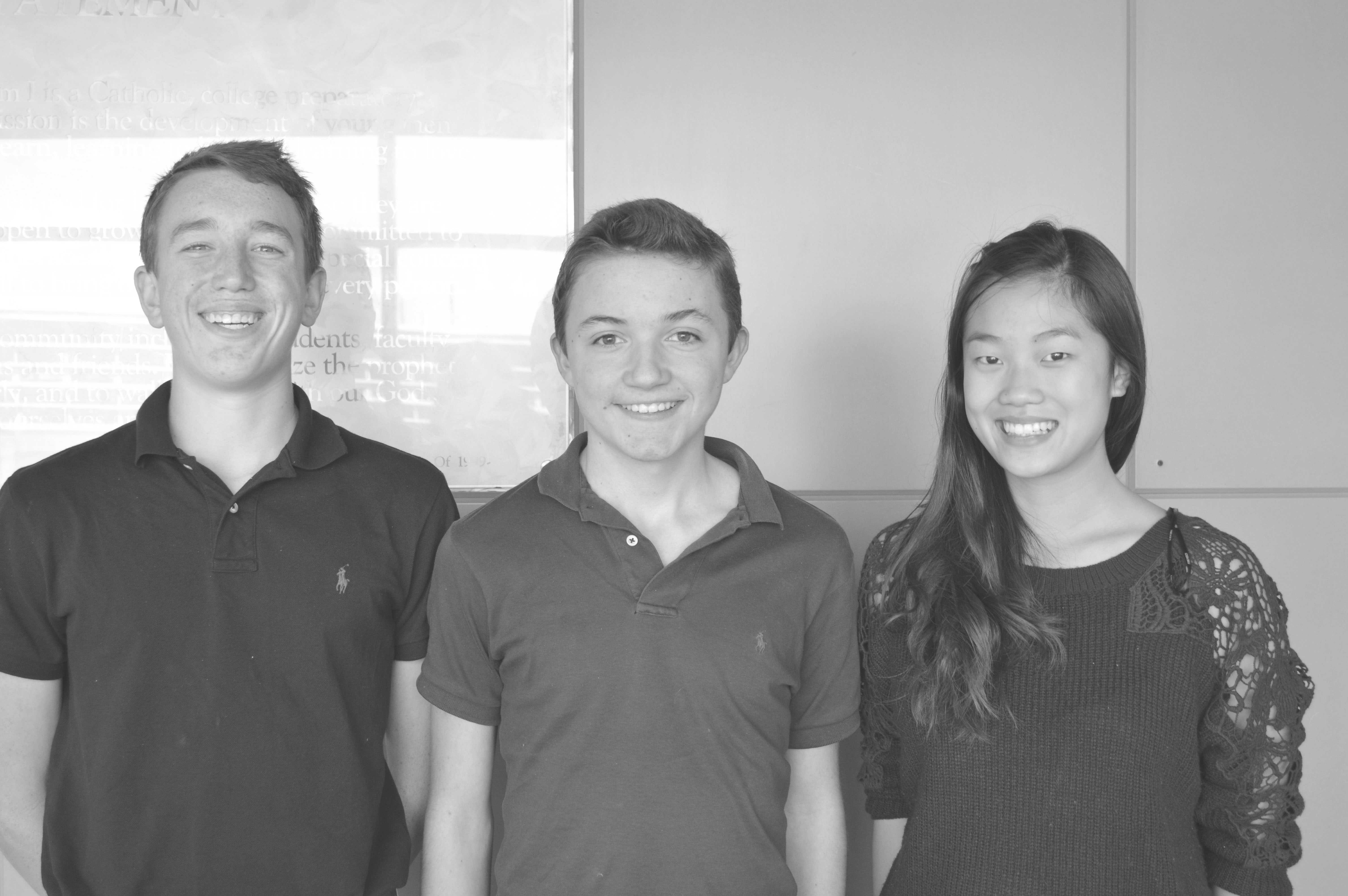 The Freshman ASB President Hudson Patterson (center) and Executives Angela Lin (right) and Will Foster (left)