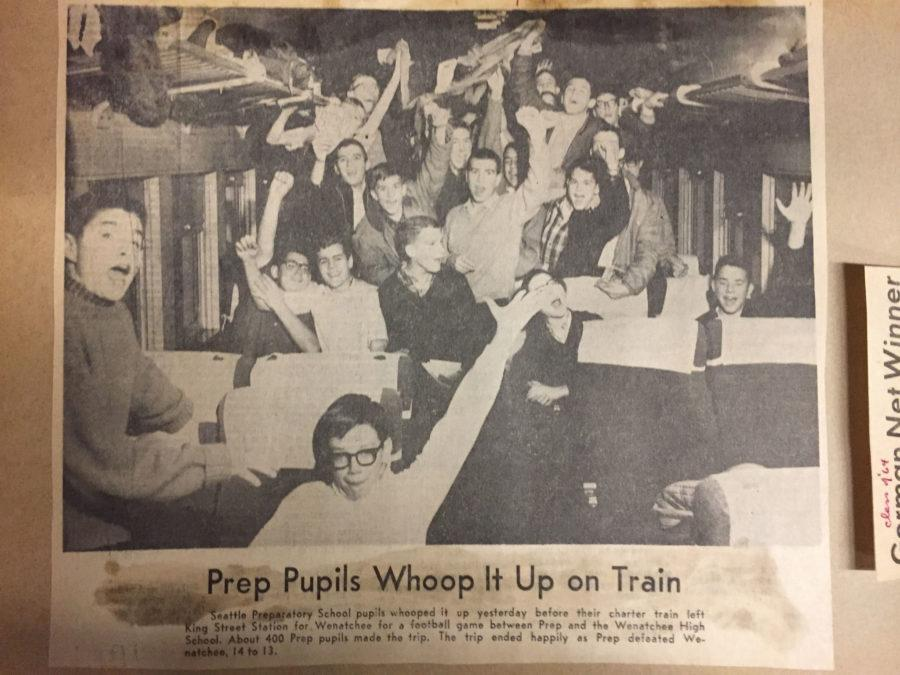 Seattle Prep Students cheer on a 1965 train trip to Wenatchee.