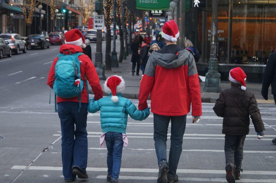 Families gather in downtown Seattle for a variety of Holiday activities.