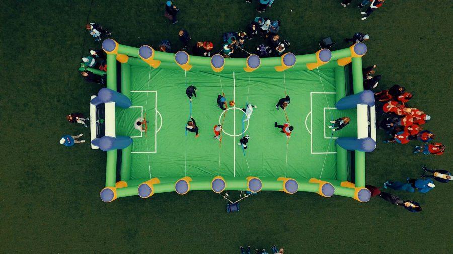 Adam Ambuske's winning drone picture of Human Foosball