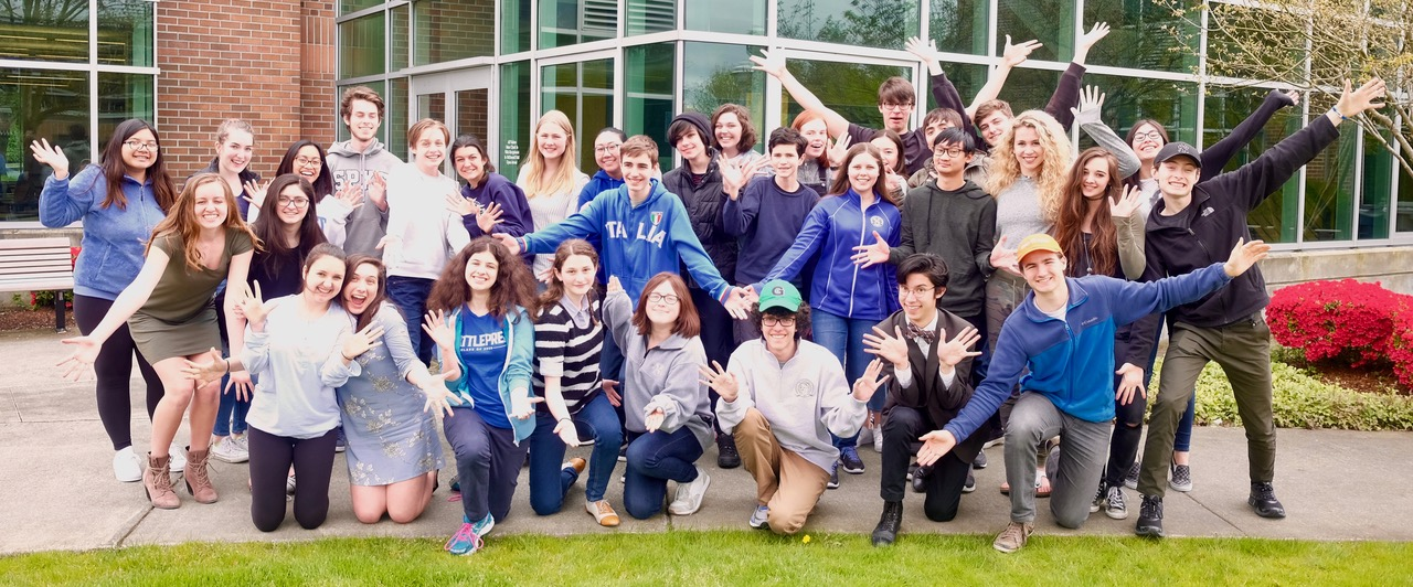 The cast and crew of Seattle Prep's Festival of One Act Plays.
