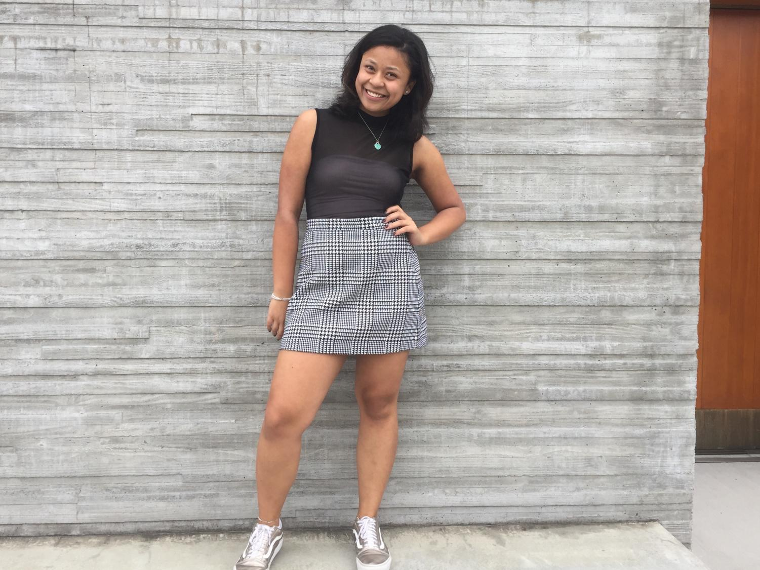 Jackie WIlliams '20 shows off her unique style. Williams and other Prep Fashionistas stay on trend this Fall with layers and the hottest color: silver.