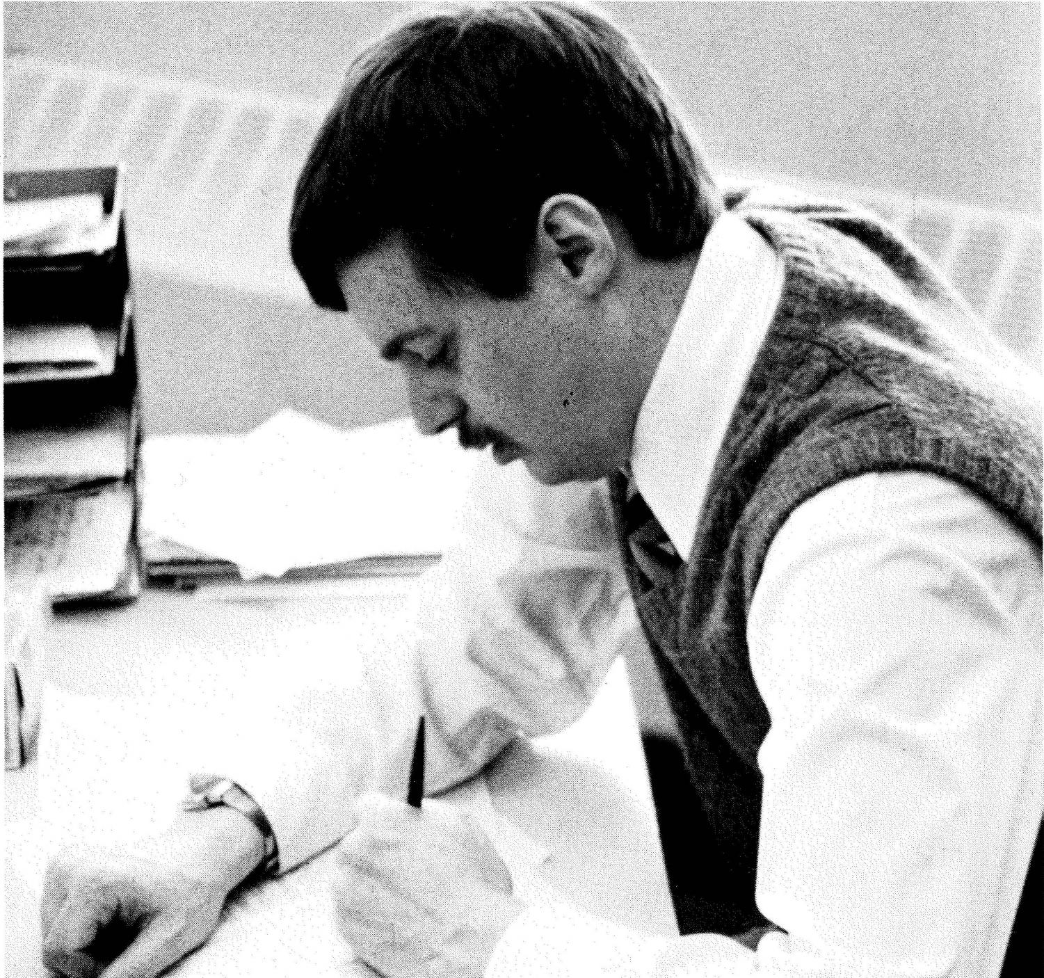 Mr. Hardy, grading papers in 1986, his first year at Seattle Prep.