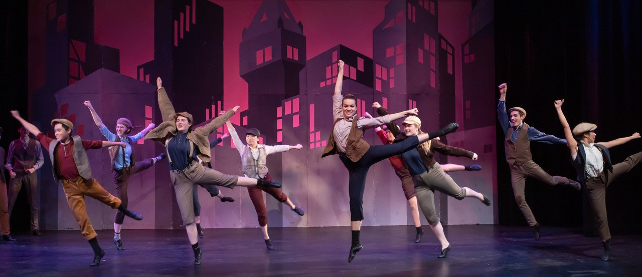 The cast of Newsies during a musical number. Newsies ran for two weekends in February and earned rave reviews.