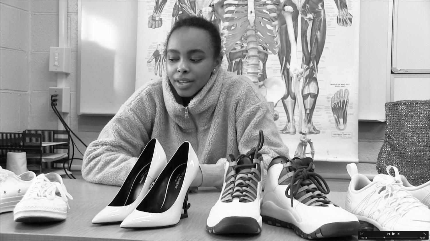 Doyin Best '20 shows off some of her extensive shoe collection