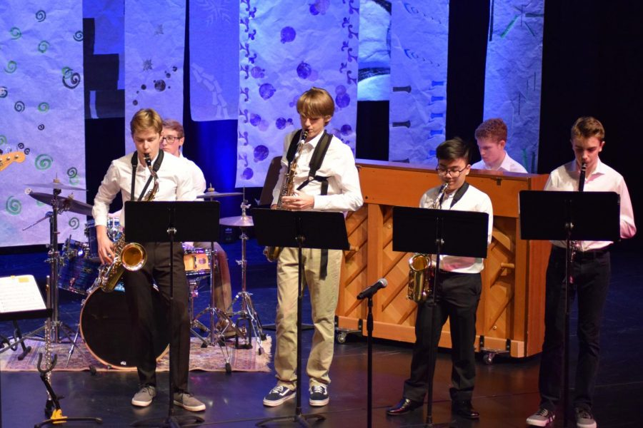 Members of the Seattle Prep Jazz Band perform at their Winter Concert.