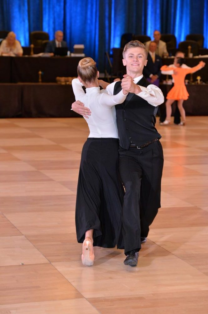 Aidan Wylie '22 dances at a recent competition. Wylie and other students find a creative outlet in ballroom and other dance styles.