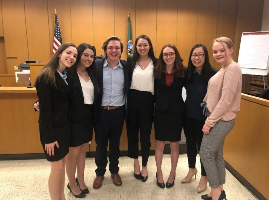 Members of the Seattle Prep Mock Trial team at the State Competition in Olympia. The team placed second in state this year.