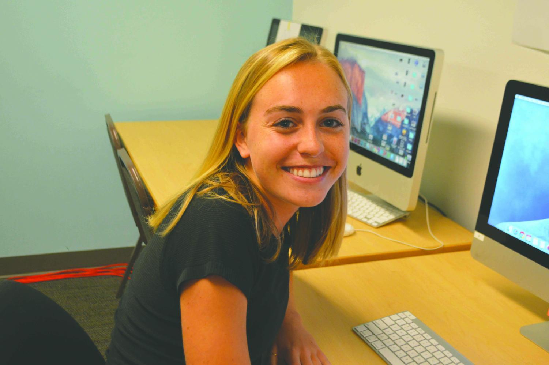 Grace Jordan '19 works in the Yearbook Room. Jordan is a star athlete and editor of the Seattle Prep Yearbook.