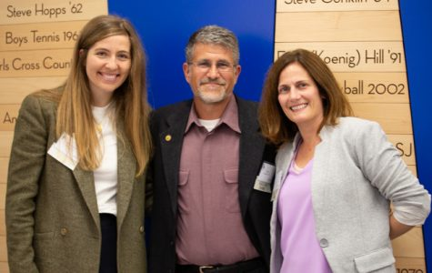 Mary Anne Santucci '14 (Left) with Soccer Coach Andy Hendricks '83 (Center) and Laura (Robinson) Krosevic '94