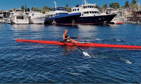 Carlie Lindsay training for Crew on Lake Union.