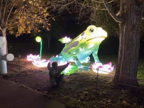 Sophomore Charles Cook Poses By A Frog Lantern at Woodland Park Zoo