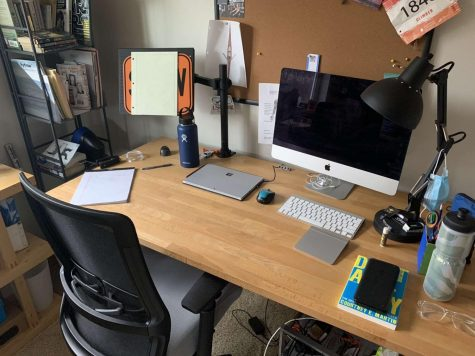 Senior Derek Hissong has organized his home study space to maximize productivity and minimize distractions.