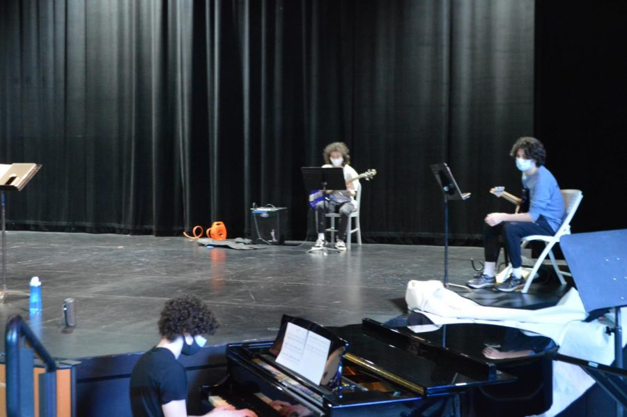 Seattle Prep Jazz band rehearses in a socially distanced format in the theater.