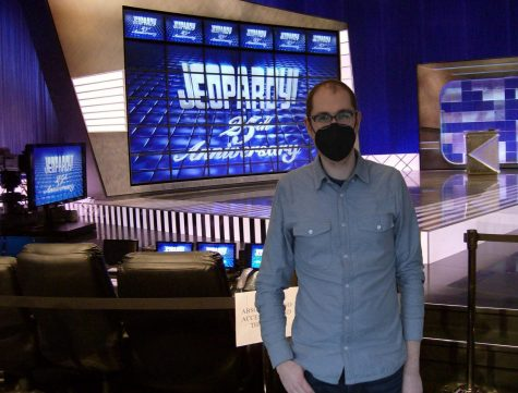 Math teacher Dominic Rosato on the Jeopardy set. Rosato is leaving Seattle Prep to pursue the fierce competition of TV game shows.