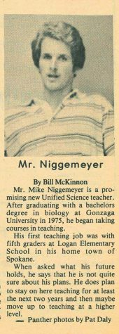 A newspaper article from  1977, Mr. Niggemeyer