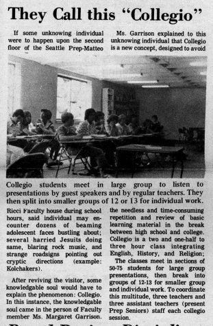 A newspaper article from the first year the Collegio program was implemented.