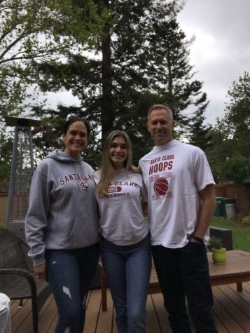 Camille Hardie with her parents. Hardie will attend Santa Clara University next year, carrying on a family tradition.